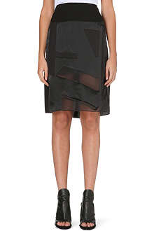 HELMUT LANG Sheer panel midi skirt