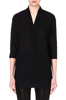 HELMUT LANG V-neck cotton-blend blouse