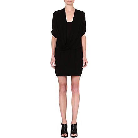 HELMUT LANG Draped jersey dress (Black