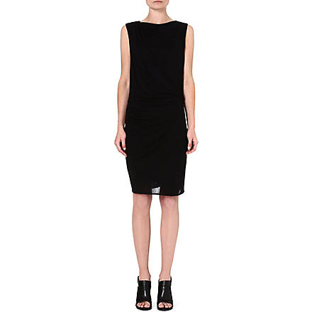 HELMUT LANG Ruched jersey dress (Black