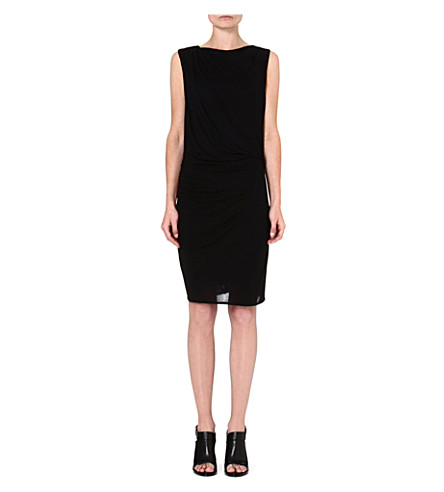 HELMUT LANG Ruched jersey dress (Black