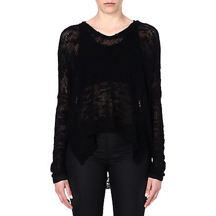 HELMUT LANG Sheer-detail silk jumper (Black