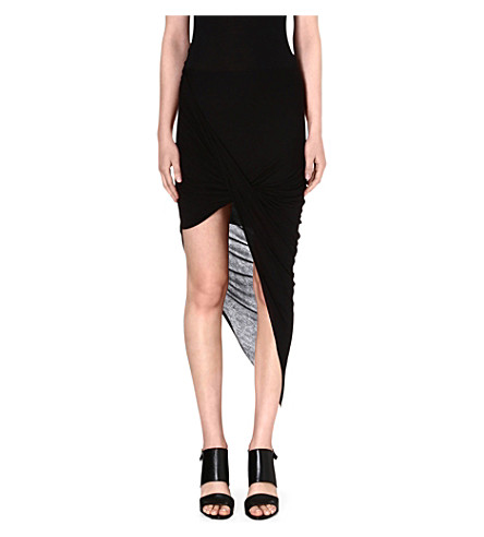 HELMUT LANG Kinetic asymmetric draped jersey skirt (Black