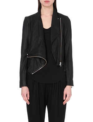 HELMUT LANG Asymmetric drape leather jacket