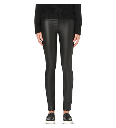 HELMUT LANG Skinny leather trousers (Black