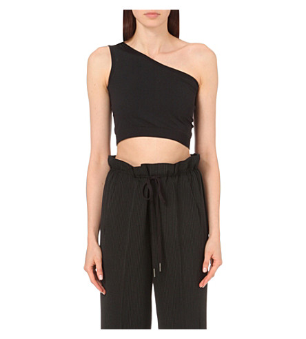HELMUT LANG Asymmetic stretch-jersey top (Black