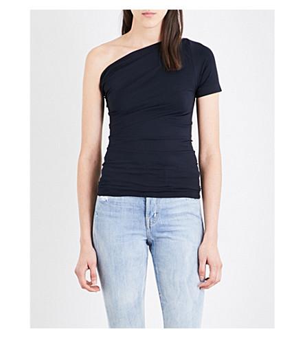 HELMUT LANG Asymmetric stretch-jersey top (Navy