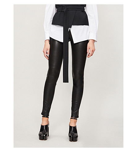 HELMUT LANG Skinny stretch-leather leggings (Black