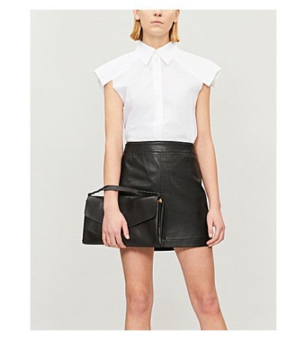 HELMUT LANG High-rise stretch-leather skirt (Black