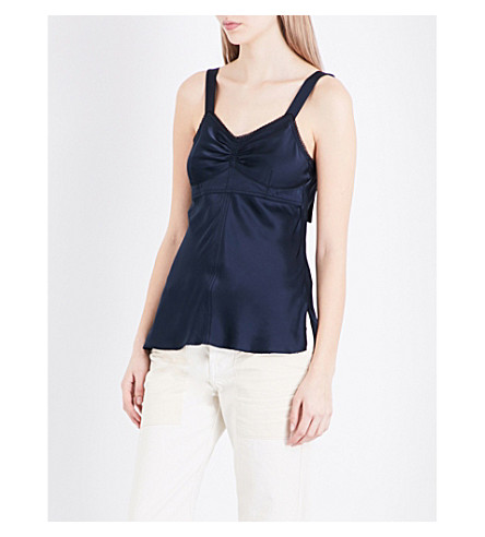HELMUT LANG Ruched satin slip top (Navy