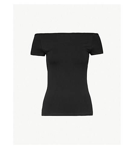 HELMUT LANG Off-the-shoulder stretch-jersey top (Black