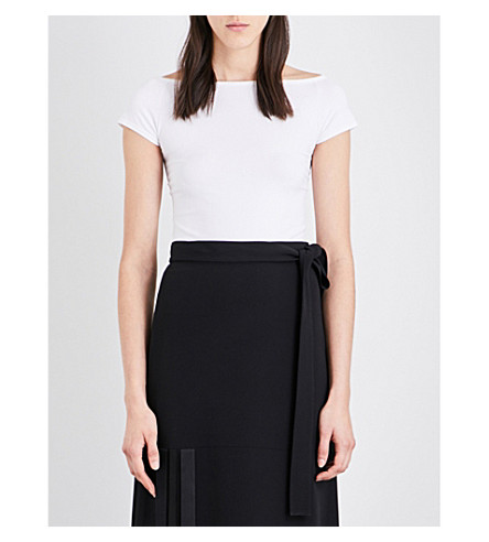 HELMUT LANG Off-the-shoulder stretch-jersey top (Optic+white
