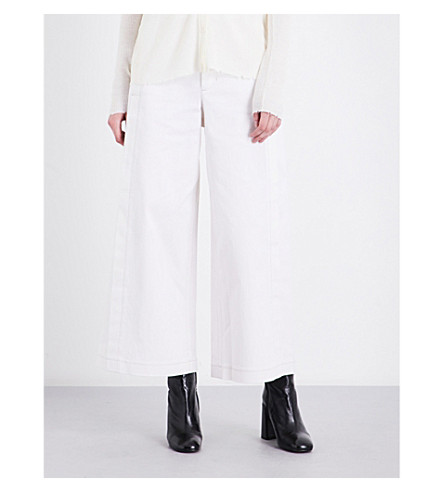 HELMUT LANG High-rise wide-leg stretch-cotton trousers (Khaki