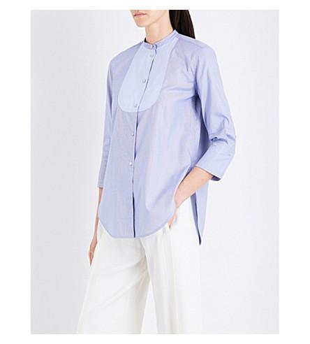 HELMUT LANG Bib-panelled cotton shirt (Oxford+stripe