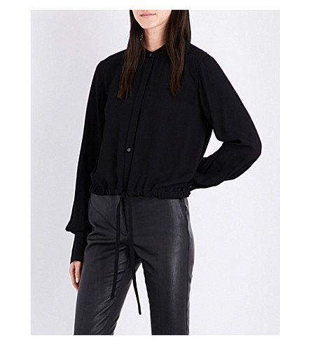 HELMUT LANG Drawstring-hem woven blouse (Black