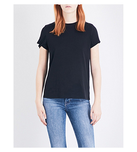 HELMUT LANG Strap-detail cotton T-shirt (Black