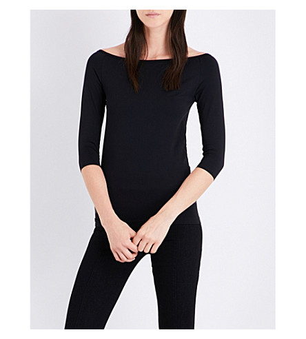 HELMUT LANG Off-the-shoulder jersey top (Black