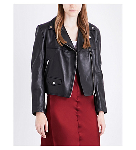 HELMUT LANG Boxy leather biker jacket (Black