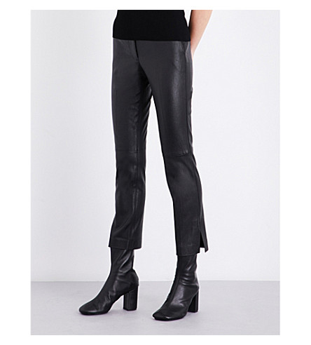 HELMUT LANG Skinny straight leather trousers (Black