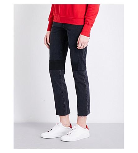 HELMUT LANG Patchwork-detail slim-fit high-rise jeans (Mixed+vintage+blk