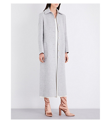 HELMUT LANG Buckle-belted wool and cashmere-blend coat (Snow+melange