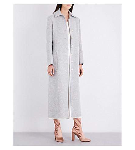 HELMUT LANG Buckle-belted wool and cashmere-blend coat (Snow+melange