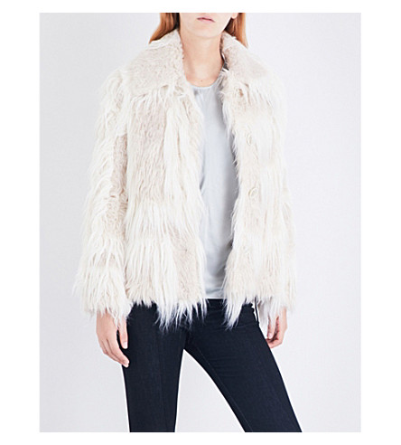 HELMUT LANG Long-haired faux-fur jacket (Chalk+cream