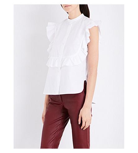 HELMUT LANG Ruffled-shoulders cotton top (Optic+white