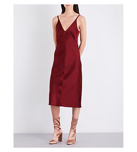 HELMUT LANG V-neck satin slip dress (Ruby