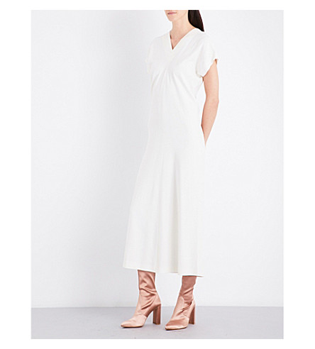 HELMUT LANG V-neck crepe dress (Ivory