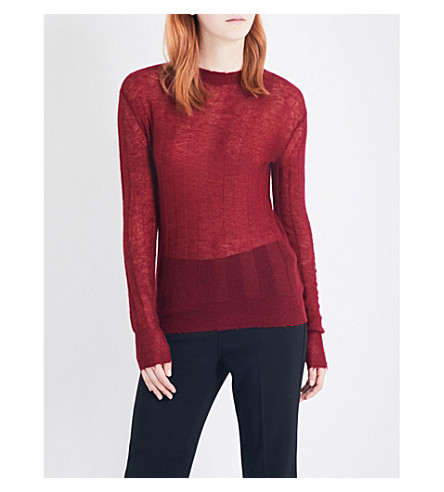 HELMUT LANG Frayed-trim knitted top (Ruby
