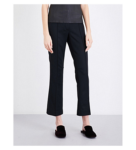 HELMUT LANG Cropped flared wool-blend trousers (Black