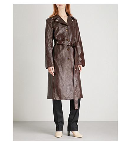 HELMUT LANG Biker-collar leather trench coat (Chestnut