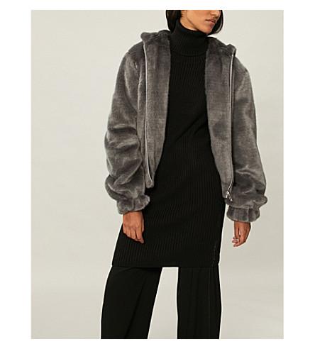 HELMUT LANG Zip-up faux-mink jacket (Seal