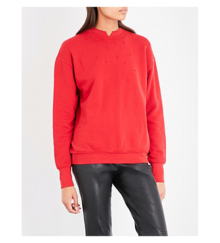 HELMUT LANG Slash-neck cotton-jersey sweatshirt (Amaryllis