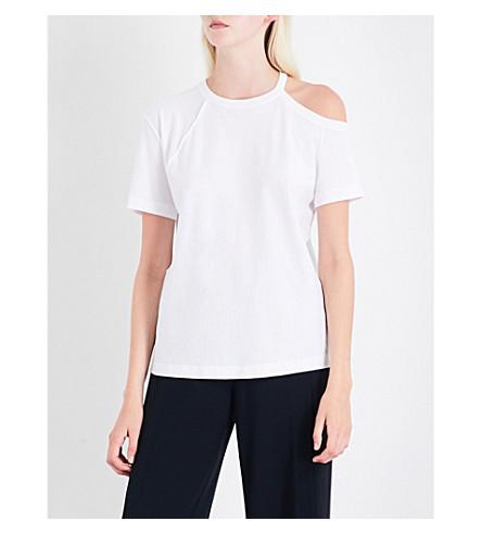 HELMUT LANG Asymmetric cold-shoulder cotton T-shirt (White