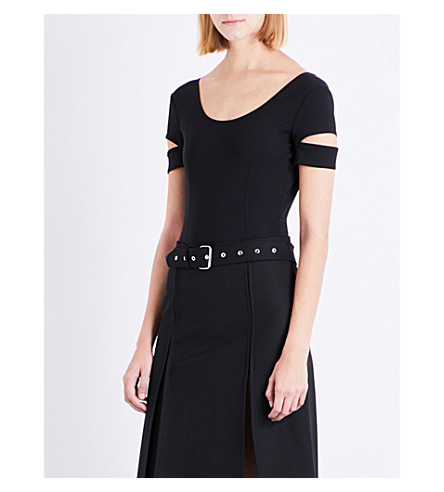 HELMUT LANG Backless cutout woven body (Black