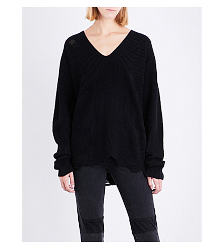 HELMUT LANG Distressed V-neck wool and cashmere-blend jumper (Black