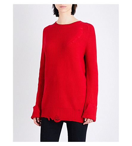 HELMUT LANG Distressed wool and cashmere-blend jumper (Amaryllis