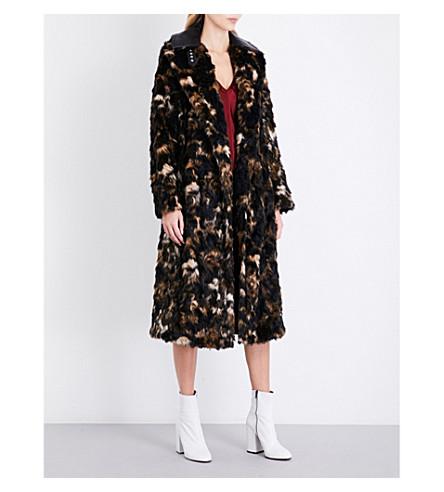 HELMUT LANG Tortoise-pattern faux-fur coat (Dark+honey+multi