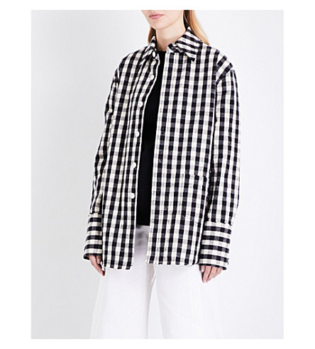 HELMUT LANG Oversized checked cotton and linen-blend jacket (Black+cream