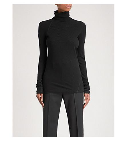 HELMUT LANG Turtleneck ribbed-knit top (Black