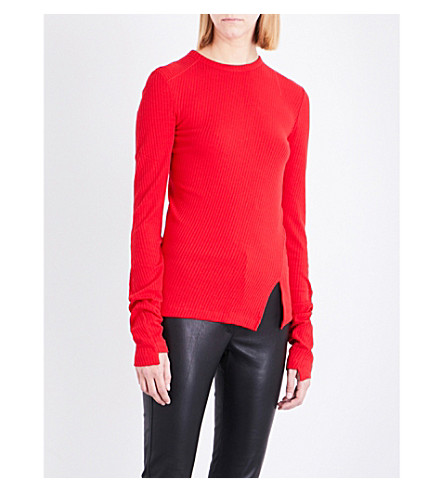 HELMUT LANG Deconstructed knitted cotton top (Amaryllis