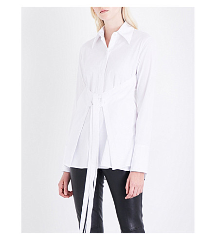 HELMUT LANG Corset-panel cotton-poplin shirt (Bright+white