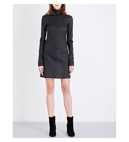 HELMUT LANG High neck leather mini dress (Black