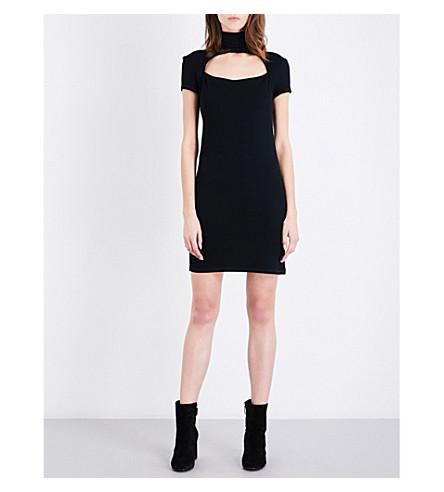 HELMUT LANG High neck cutout wool-blend mini dress (Black