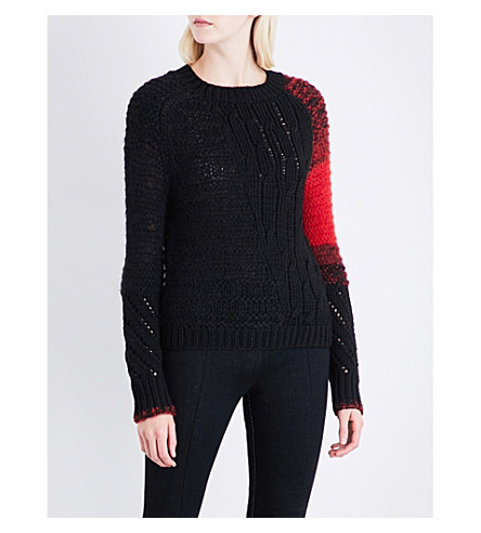 HELMUT LANG Punk Patchwork wool and mohair-blend jumper (Black
