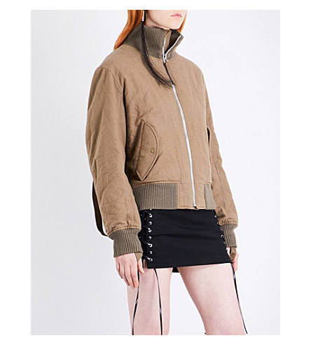 HELMUT LANG Re-Edition high neck brushed-cotton bomber jacket (Army+green