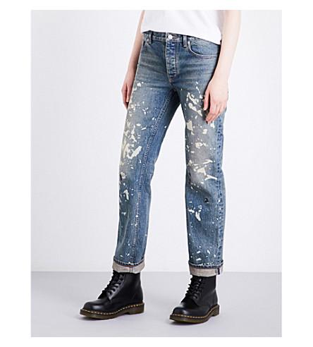 HELMUT LANG 重新编辑画家宽松适合平直的牛仔裤 (油漆 + 飞溅