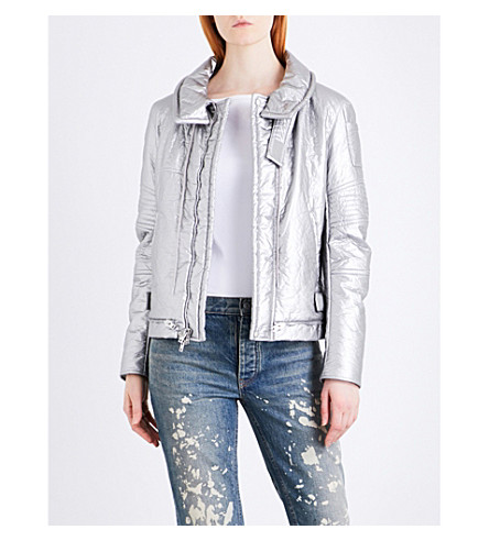 HELMUT LANG Re-Edition Astro Moto metallic padded jacket (Silver